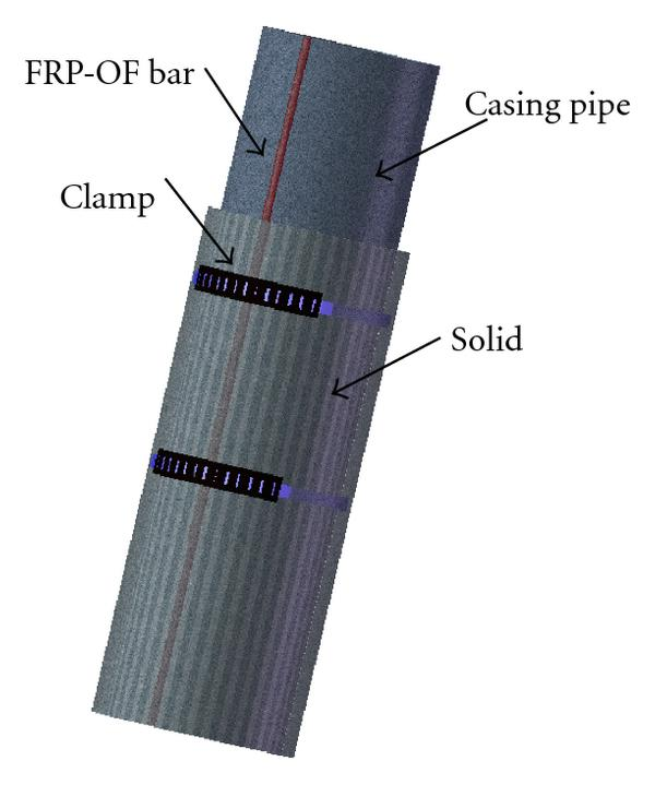 (a) Sketch of the FRP-OF bar installation