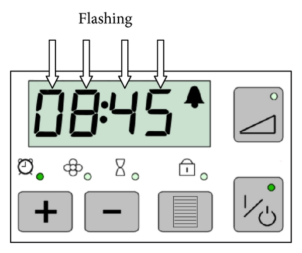(e) User action to operation 3.4: press increase or decrease buttons until the desired wake-up time is shown