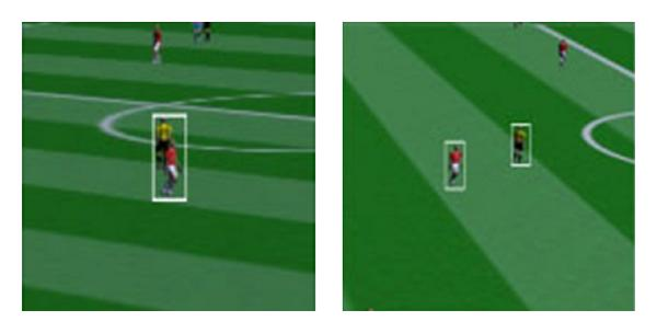 (a) Grouping of two players in left frame is solved by another camera frame