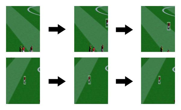 (c) First row shows entering of a player, who takes the same label in another camera shown in the second row