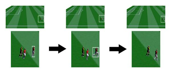 (d) Frames show exiting of a player from a camera's FOV and system stopping of tracking him