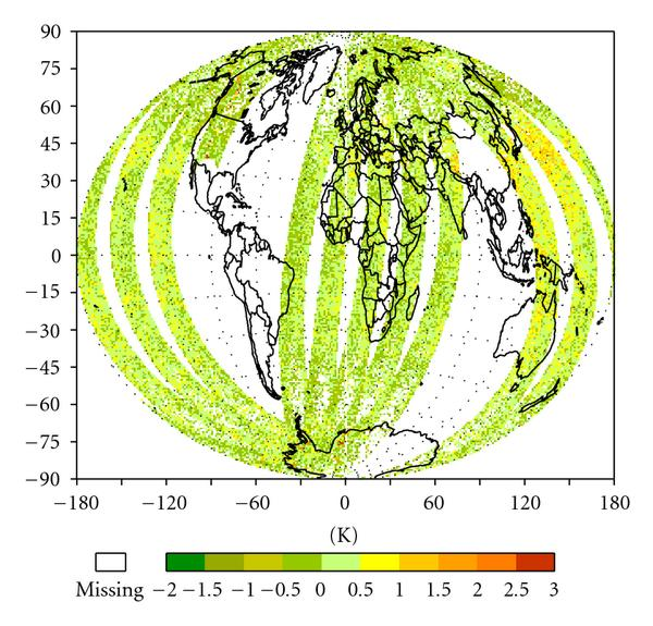 (a) Cal. SSMIS observations-simulations at 54.4GHz, 2006-03-20
