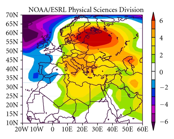 (a)  Sea Level Pressure (mb) Composite Anomaly (1981–2010 Climatology) 6/10/06 to 6/21/06 NCEP/NCAR Reanalysis