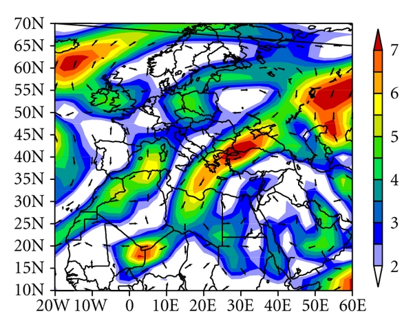 (e)  850mb Vector Wind (m/s) Composite Anomaly (1981–2010 Climatology) 6/25/06 to 6/29/06 NCEP/NCAR Reanalysis