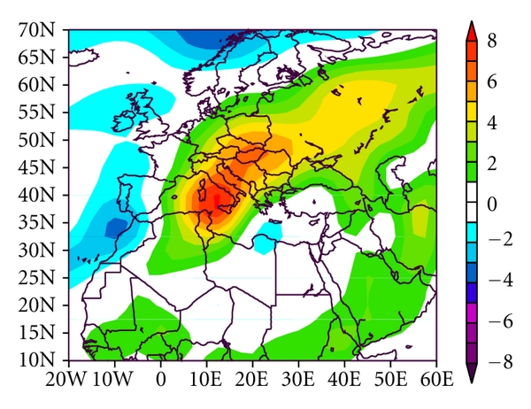 (f)  850mb Air Temperature (k) Composite Anomaly (1981–2010 Climatology) 6/25/06 to 6/29/06 NCEP/NCAR Reanalysis