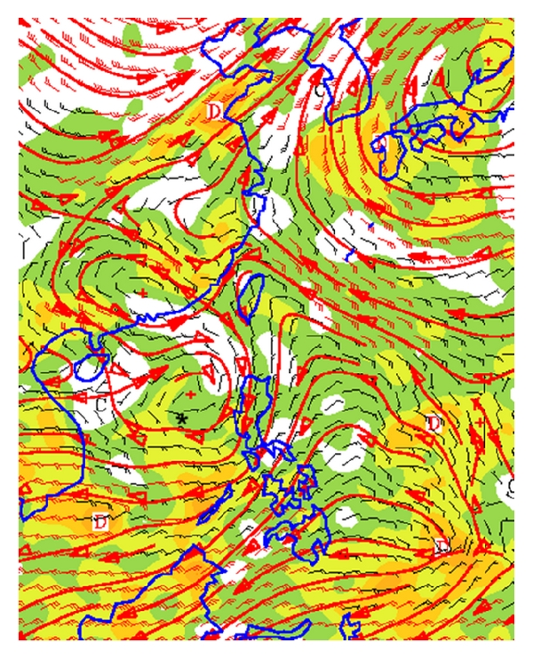 (c) 200 hPa wind with divergence (shaded)