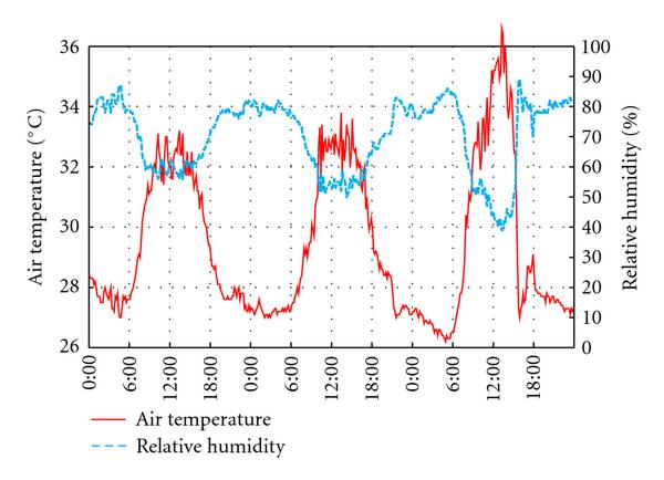 (c) Air temperature and relative humidity at a height of 1.5 m near the observation site
