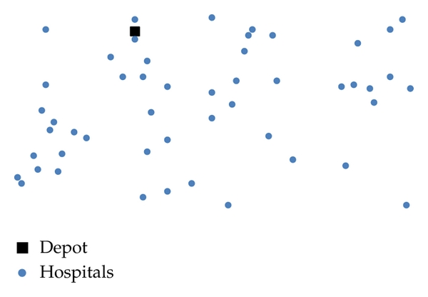 (a) The geographical location of 50 hospitals