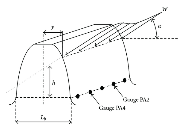 (b) Gauge locations and parameters for the calculation of tooth root stresses