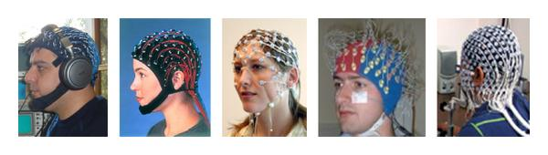 (d) EEG caps (left to right: Standard: 256-ch., (me) (Neuroscan) [7], (Neuroscan) [7], (EGI) [8], Active; (Biosemi) [9], Hydrocel (EGI)) [8]