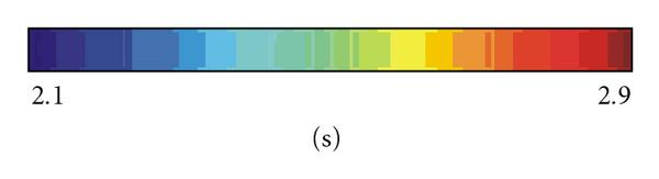 (b) Colour scale representing the amplitude of the overall-average ST, in seconds