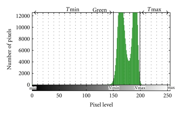 (c) Histogram for green component