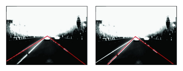(b) Detection result under strong brightness environments with interference on road