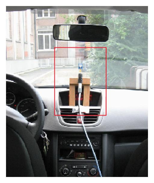 (a) Front Antenna (TX). The TX was placed in the center of the dashboard