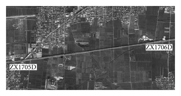 (b) Satellite image of measured viaduct