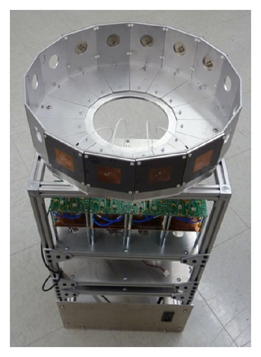 (b) 4-element circular array manifold to study the polarimetric array pattern variation with different scanning angles