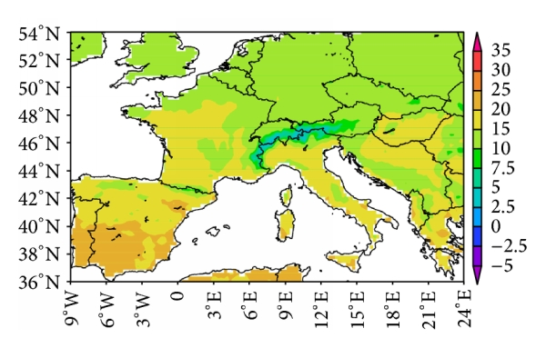 (a) Mean for 60-year daily maximum temperature (OBS)