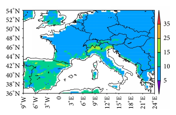 (f) Normalized RMSE for 60-year daily maximum temperature (OBS versus model)