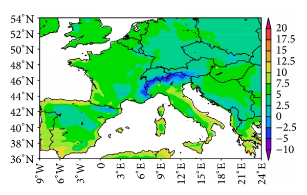 (b) Mean for 60-year daily minimum temperature (model)