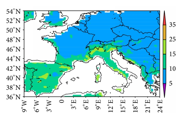 (f) Normalized RMSE for 60-year daily minimum temperature (OBS versus model)