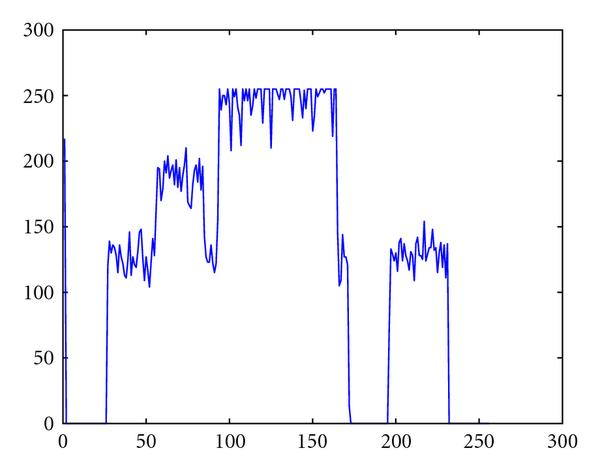 (f) Profile ofthe same line, showing a noise variance which depends on the grey level intensity in the image