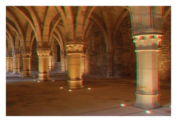 (c) Anaglyph of images 3 and 4 (Note   )