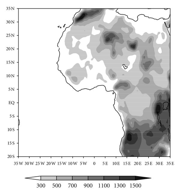 (a) West African domain and topography