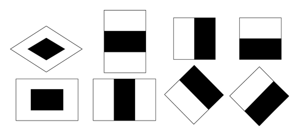 (b) Center-surround, linear, and diagonal directional features