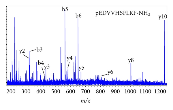 (b) A number of b-type and y-type ions are labeled