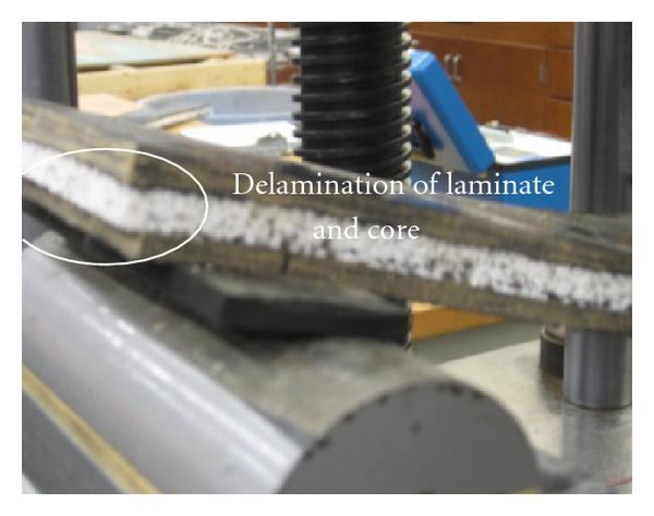 (b) Delamination of NSIPs facesheets during flexure test