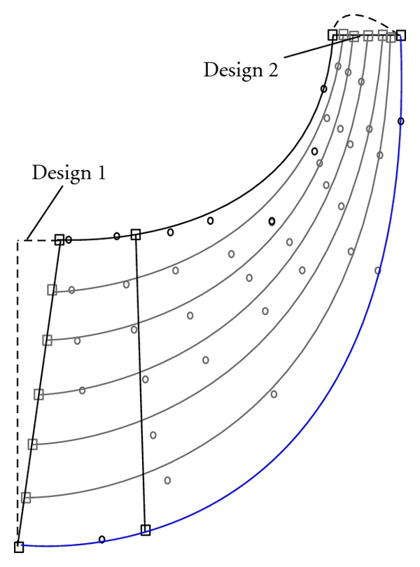 (a) Meridional view of the two designs