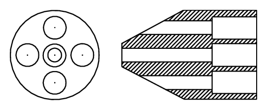 (c) Cone head with forward facing holes