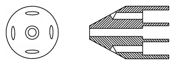 (d) Cone head with perpendicular holes