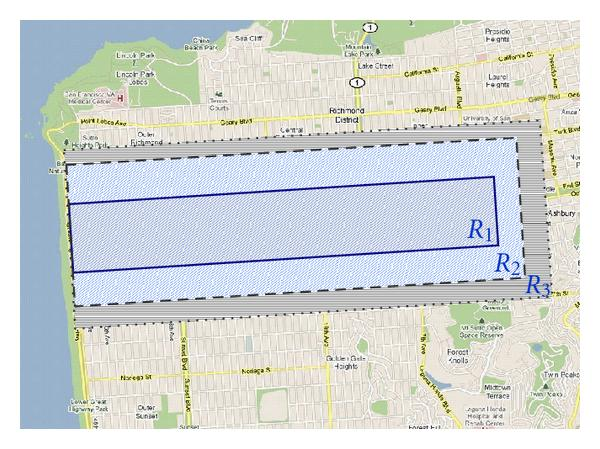 (a)    ,    ,     on the map of San Francisco