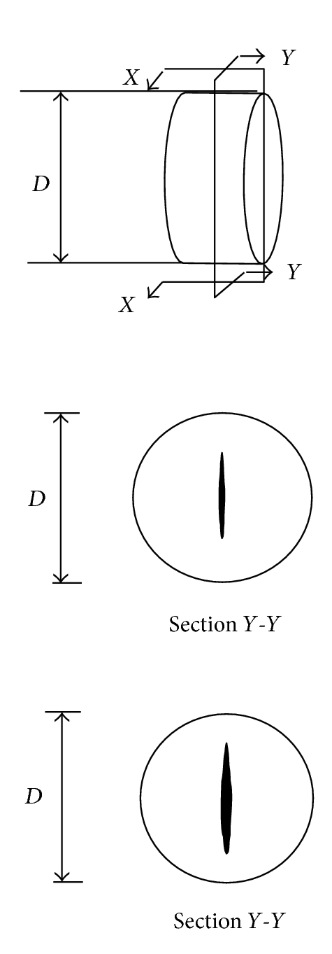 (a)  Crack propagation along vertical and horizontal diameters