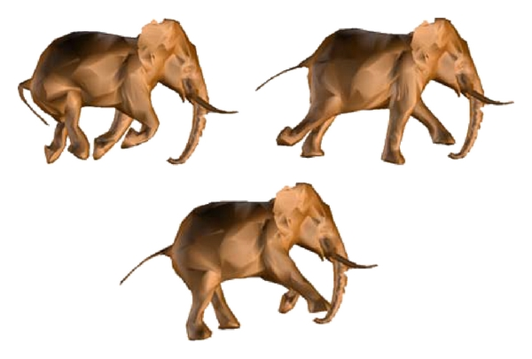 (b) Simplified elephant animation model using the DSD (with 5000 triangles)