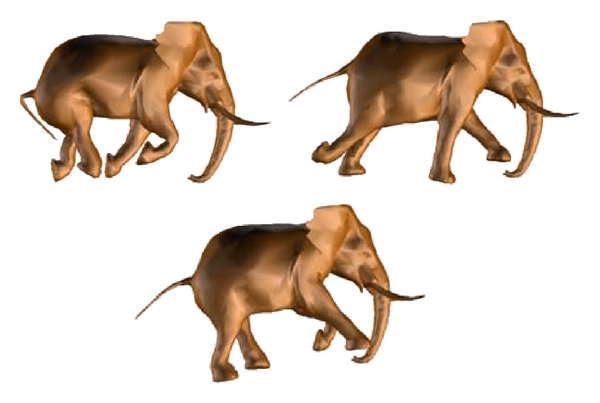 (c) Simplified elephant animation model using the RHCT (with 5000 triangles)