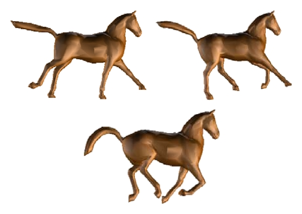 (b) Simplified horse animation model using the DSD (with 5000 triangles)
