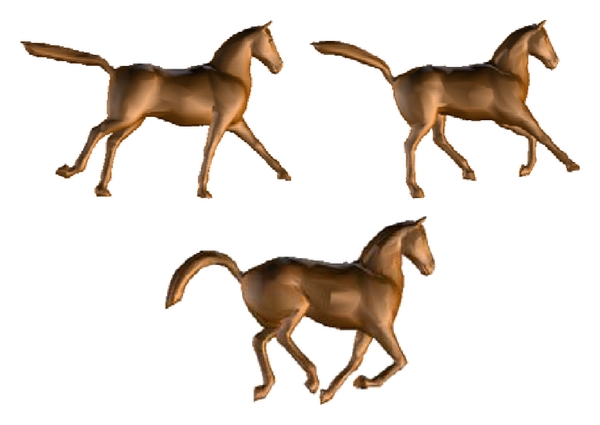 (c) Simplified horse animation model using the RHCT (with 5000 triangles)