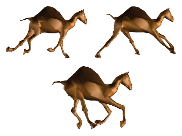 (b) Simplified camel animation model using the DSD (with 5000 triangles)