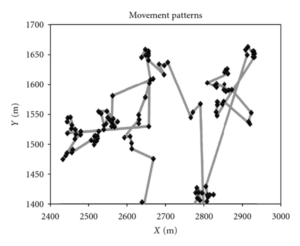 (b)  Movement pattern of a mobile node in TLW