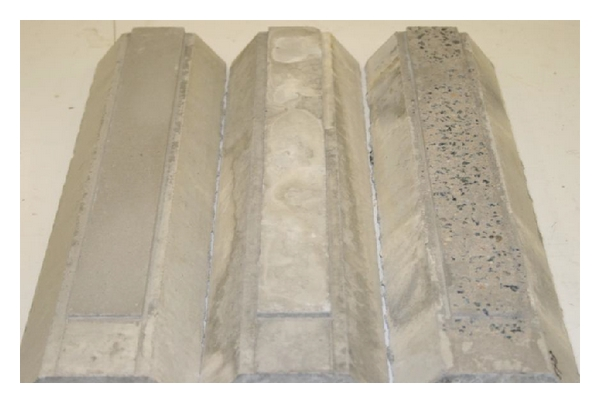 (b) Concrete surfaces (left to right): SP1, mould, and SP3