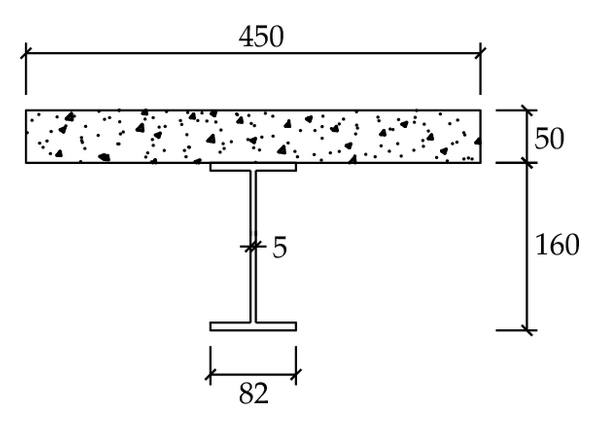 (b)  Reinforced concrete composite I-beam (in mm)