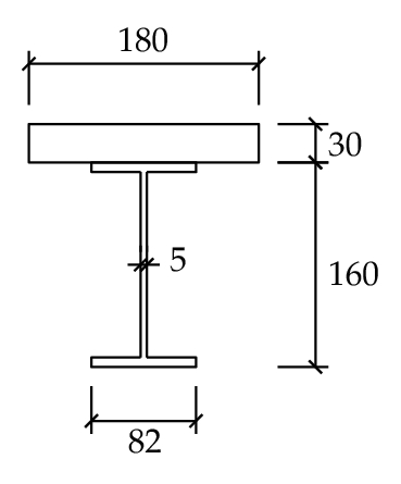 (c) Reference beam with steel plate instead of RC slap (in mm)