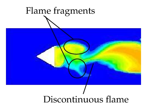 (a) Discontinuous flame
