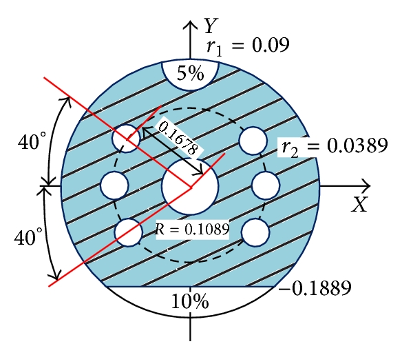 """(d) The circular baffle with a central manhole and six small holes, """"C6"""""""