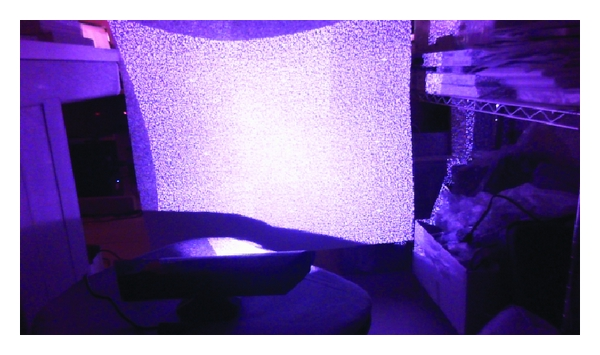 (b) The speckle pattern projected on the surface from distance of 0.5m (in a dark room)