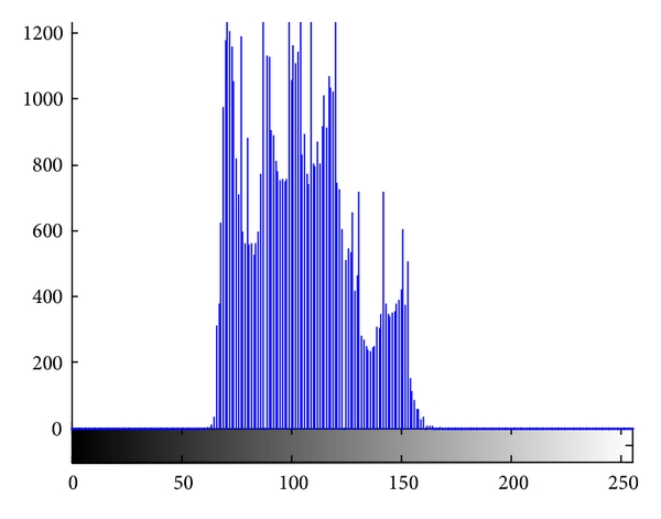 "(b) The rayscale histogram of ""frog"""