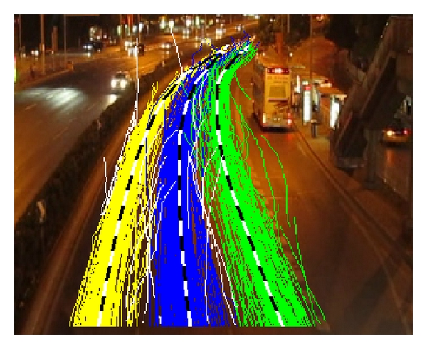 (l) Lane center detection results in curve road at night