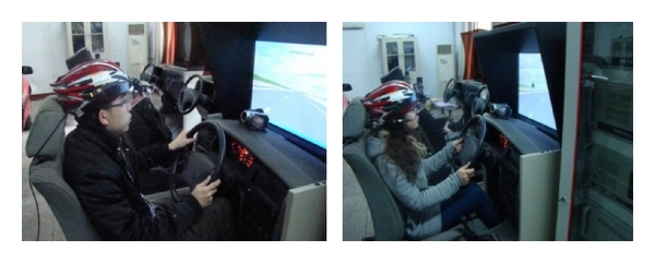 (a) Participants are driving with simulator